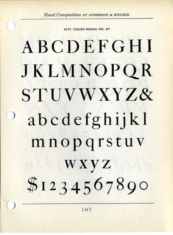 Caslon type specimen #type #specimen #typography