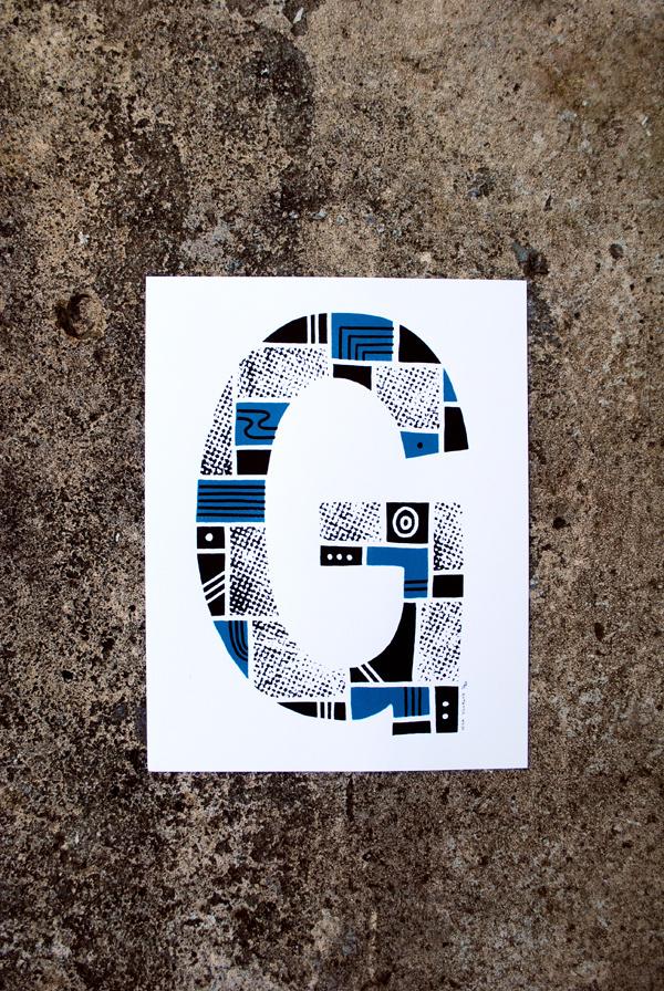The Letter G #print #screenprint #screen #letter #alphabet #type #blue #typography