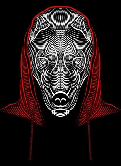 Baubauhaus. #lines #redandblack #illustration #wolf #littleredridinghood