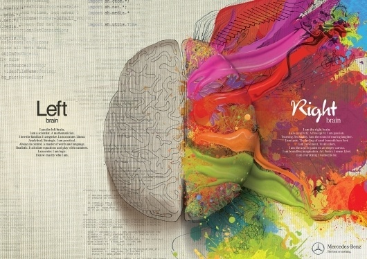 Mercedes Benz: Left Brain - Right Brain, Paint | Ads of the World™ #campaign #illustration #ad