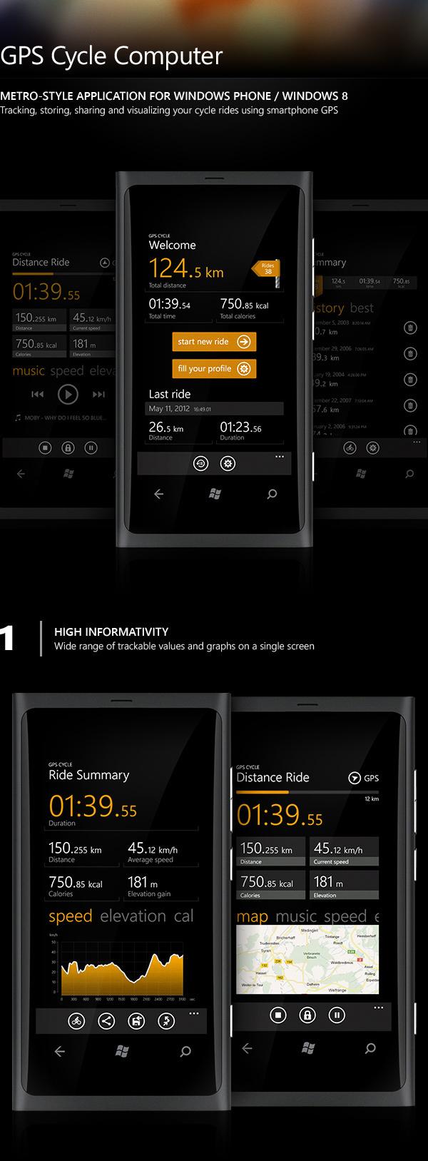 GPS Cycle (Metro application) on Behance #cycle #app #windows #metro
