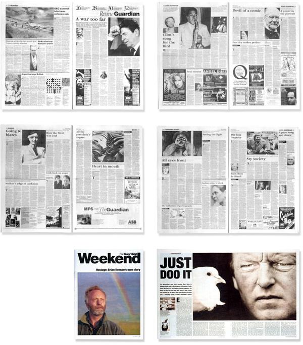 Studio David Hillman Portfolio | Editorial | The Guardian #miller #garamond #hillman #guardian #newspaper #the #grid #80s #helvetica #david