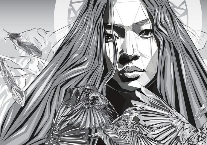 Eugenia Mandzhieva #model #feather #bird #digital #illustration #art #face
