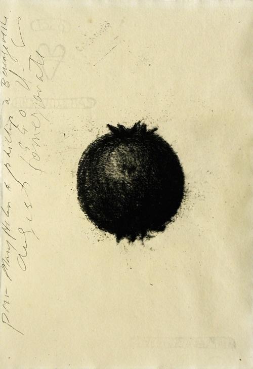 mondonoir — Donald Sultan, Untitled (Pomegranate), Charcoal on... #pomegranate #sultan #untitled #donald #charcoal #on #1990 #paper