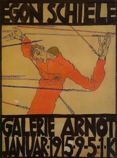 Self Portrait as St. Sebastian (exhibition poster) 1915 Egon Schiele #poste #poster