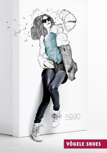 Vögele Shoes: Box Models, Fur | Ads of the World™ #women #illustration #ads #vogele