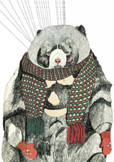 the foxhole #scarf #bears #illustration #gloves