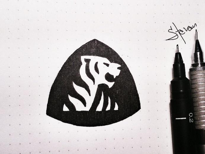 Twibfy #ink #black #triangle #logo #tiger #sketch