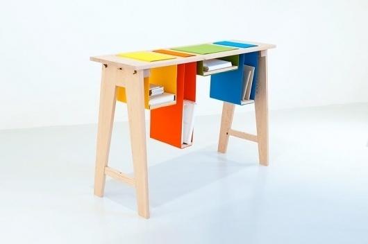Felt & Gravity Sideboard #wood #felt #colorful #desk #studio #hunting #amy
