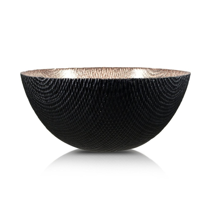 Round Deep Glass Copper And Black Bowl 19cm x 8cm
