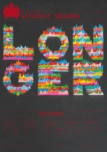 Ministry of Sound, Saturday Sessions on Typography Served #music #colour #poster #typography