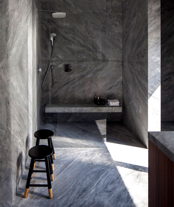 B House – Modern Dwelling with Dark Accents - #bath, #interior, #decor, home, bathroom