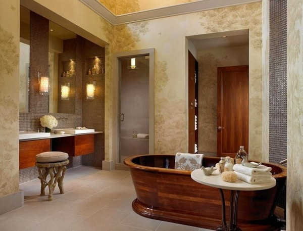 Luxury bathroom with brown bathtub #interior #house #artistic #decor #art #paintings #residence