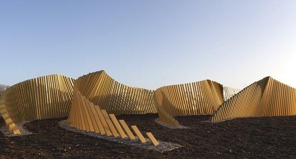 Blaze - McChesney Architects #line #pattern #wave #gold