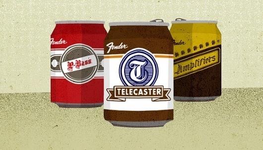 Fender Collectibles - Jon Ashcroft Design & Illustration #beer #fender #ashcroft #jon #illustration #can #typography