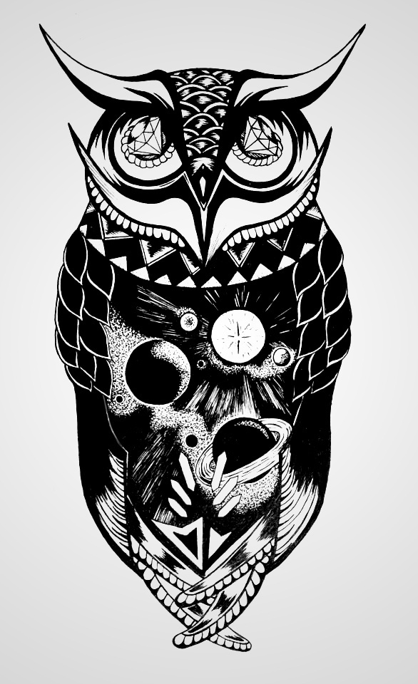 Space Owl #ink #owl #geometric #space #illustration #hype