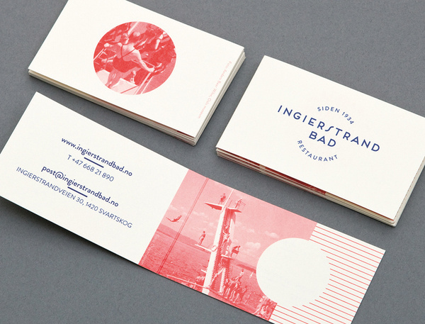 Logo and print with vintage red tinted photography detail designed by Uniform for recently refurbished Norwegian restaurant Ingierstrand Bad #oslo #norway #uniformno #uniform