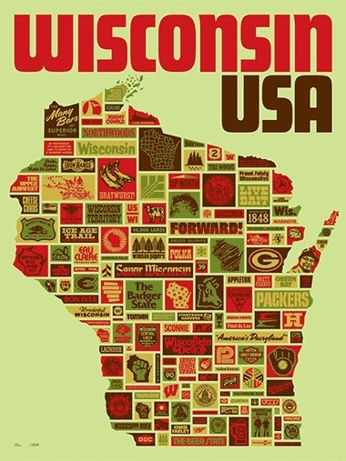 Wisconsin, USA - Aaron Draplin #print #retro #screen #illustration #poster #wisconsin #ddc #typography
