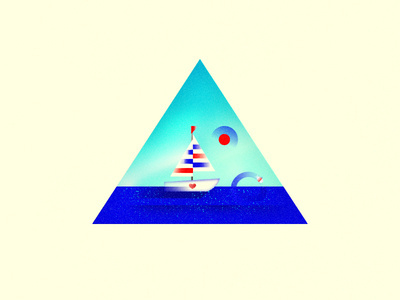 Loveboat... #flat #sun #illustrator #color #texture #illustration #sea #boat #fun #love