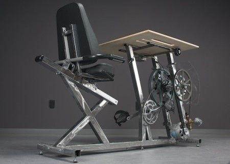 Big Rig is a stationary bike desk charger, engineered so that you can exercise while you work and charge your laptop by exercising! #product #design #industrial