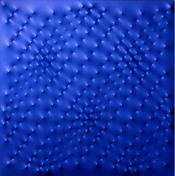 Enrico Castellani (Italian, b. 1930), Superficie blu [blue surface], 1997. Acrylic on canvas, 100 × 100 cm.