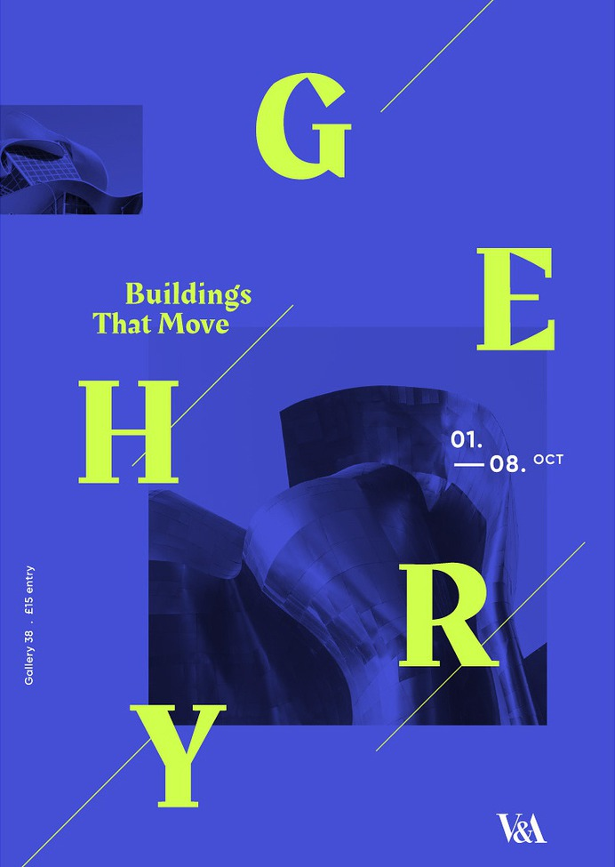 Typographic poster for an exhibition at the V&A for architect Frank Gehry.