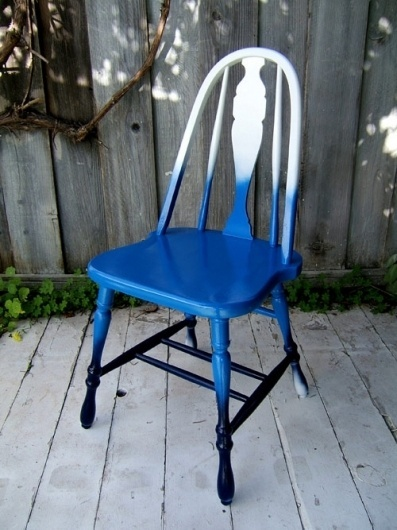 diy project: shades-of-blue ombre chair | Design*Sponge #white #chair #gradient #blue #ombre