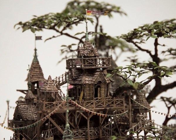 Bonsai treehouse closeup Takanori Aiba #tree #diorama #treehouse #bonsai #miniature