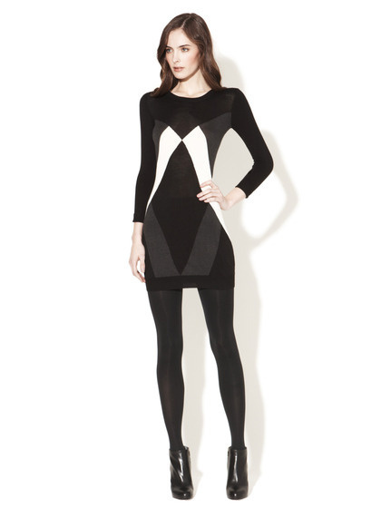 French Connection Pop Knits Sweaterdress #white #& #black #fashion #dress