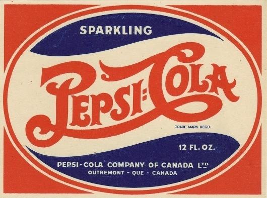 All sizes | Pepsi-Cola - Canadian bottle label - 1940's | Flickr - Photo Sharing! #lettering #retro #logo #pepsi #vintage #type #soda