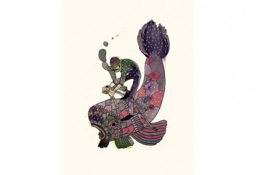 mr steve mccarthys illustration blog: previous work #fisherman #fish #fight #watercolour