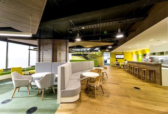 City West Water Head Office office much movement informality color #office #office design #office space #working space
