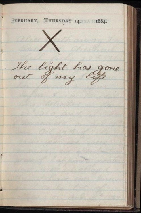 Valentine's Day... On this day in 1884, Theodore Roosevelt lost his wife and his mother. #sorrow #handwriting #death #roosevelt #president #diary #vintage #valentine #light #loss