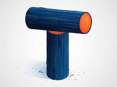 Dribbble - T by Chris Rushing #lettering #letters #type #orange #texture #letterforms #wood #blue #typography
