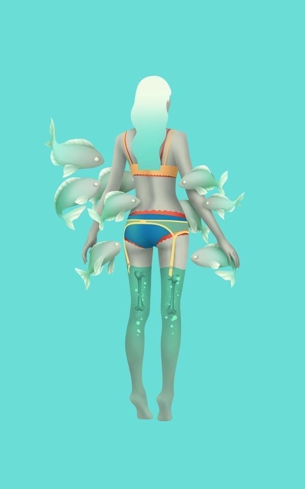 sea girl on Behance #illustration #bones #underwater #girl
