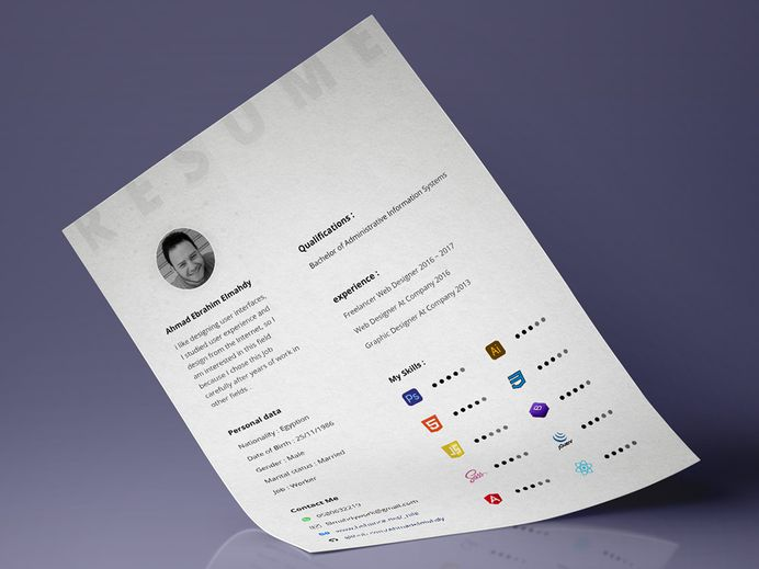 Free Minimal Resume Template for Designer