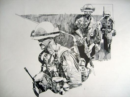 Sergio Toppi - Vietnam, in GiuseppeVelardo's Toppi, Sergio Comic Art Gallery Room #vietnam #sergio #toppi #war #illustration #marines #comics #drawing