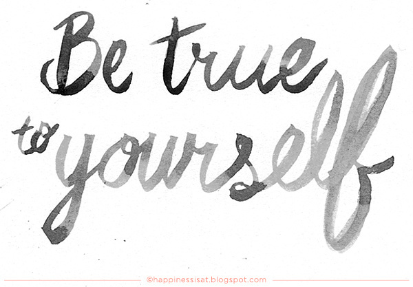 Be True to Yourself watercolour hand lettering by fathima kathrada at Happiness is... #yourself #lettering #sentence #true #watercolour