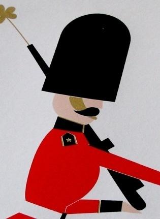 Made By Morris #printed #silkscreen #red #london #print #black #guard #gold #hand