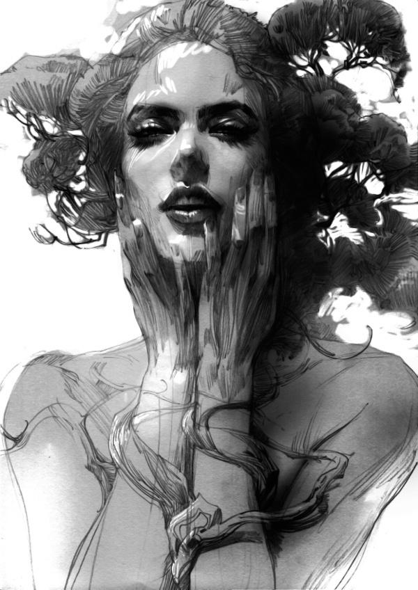 portrait illustration #zhang #weber #digital #portrait #painting #sketch
