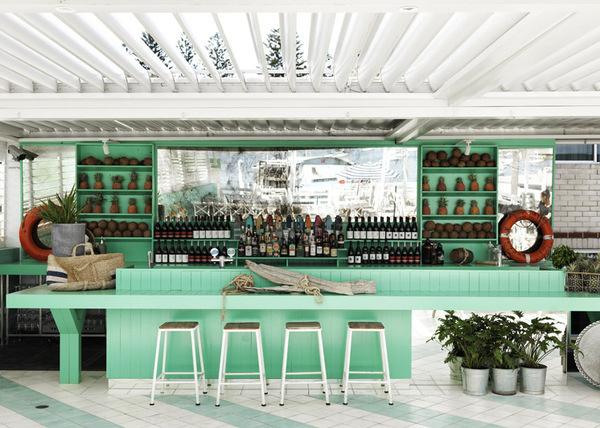 Watsons Bay Boutique Hotel   Beach Club Style   © Chris Court   Est Magazine #interior #bar #green
