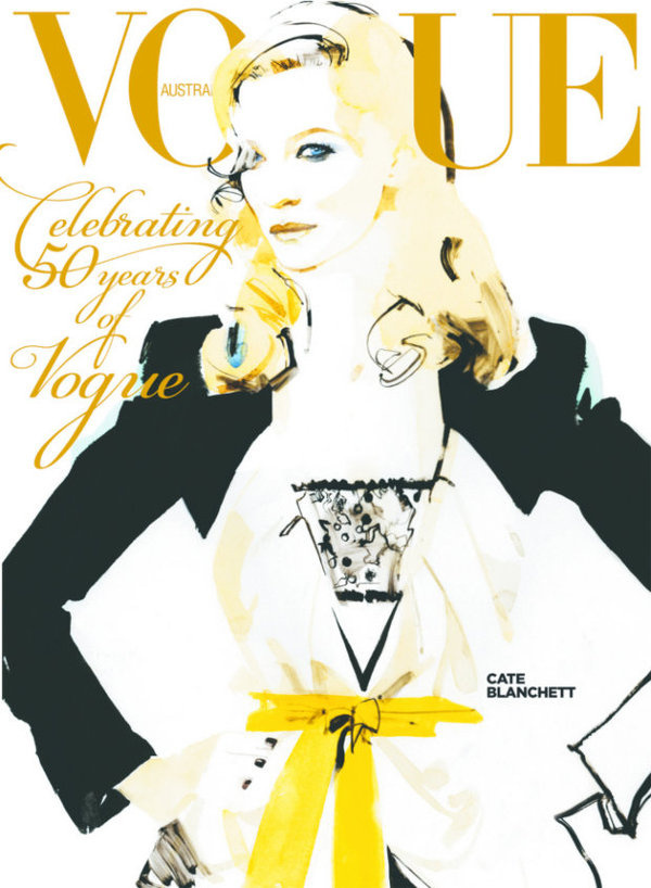 vogue australia september 2009 cate blanchett by david downton #downton #cover #illustration #fashion #david #drawing #magazine