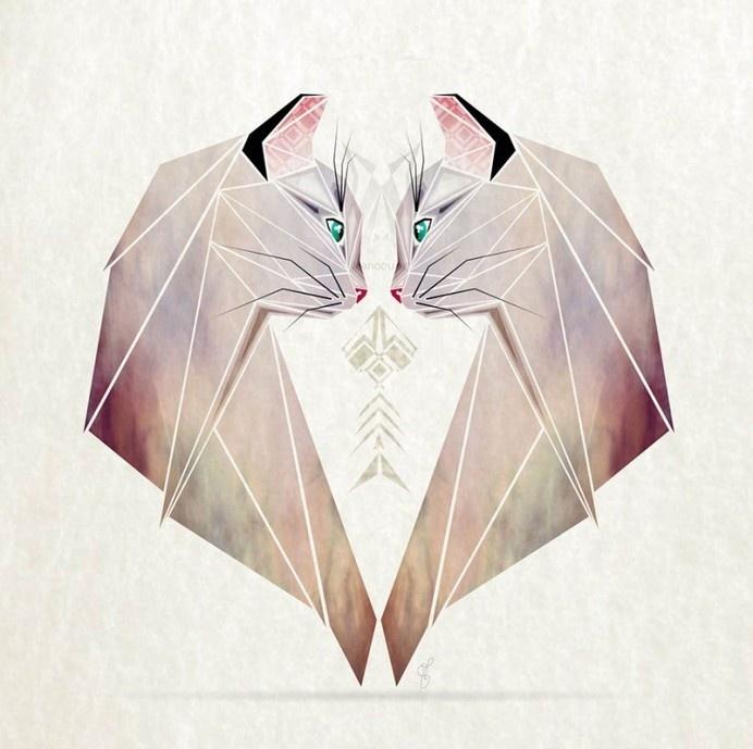 Inspired By Tangram, I Started Creating Geometric Illustrations Of Animals #illustration #animal #cat