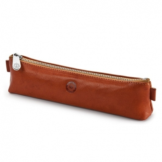 Small Red-tan Leather Pen-and Pencil Case - Manufactum