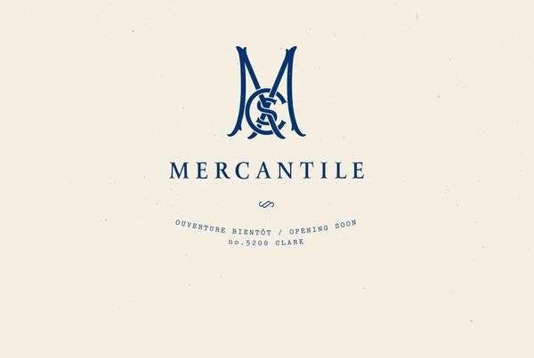Clark Street Mercantile #branding #authentic #huit #montreal #deux #vintage #logo #mercantile #blue #typo