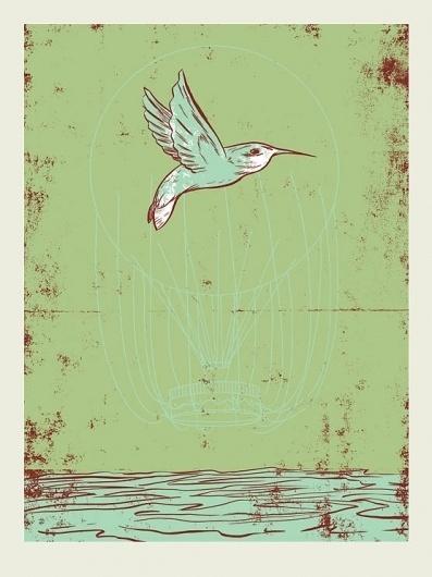 Hummingbird Balloon II | Mark Burrier #silkscreen #hummingbird #balloon #french #poster #paper