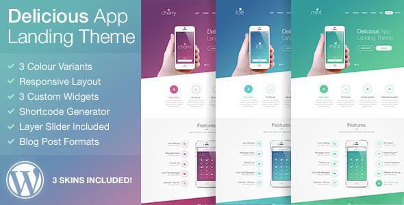 Delicious - Mobile App Landing Page WordPress Theme