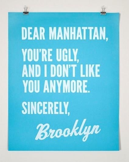 Dear Manhattan Sincerely Brooklyn Poster by FourthFloorPrintShop #manhattan #poster #york #brooklyn #new