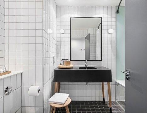 #hotel #bathroom #tile #white