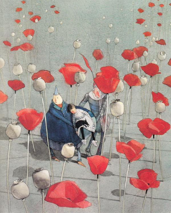 The Wizard of Oz, Reimagined by Beloved Illustrator Lisbeth Zwerger | Brain Pickings #watercolour #illustration #poppy #flowers #wizard